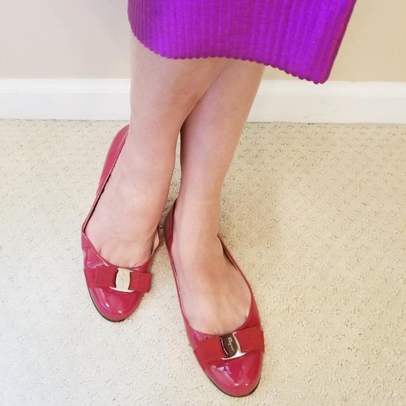 ba52def4e2829 Salvatore Ferragamo Shoes   Varina Patent Ballet Flat Red   Poshmark